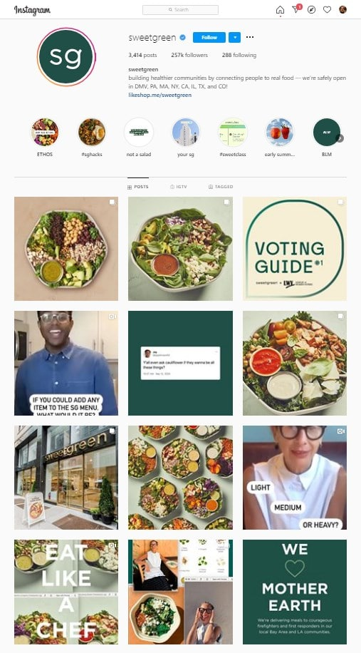 Sweetgreen Restaurants IG Feed